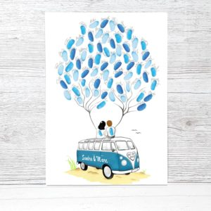 Wedding Tree Bus Bulli Farbig Fingerabdruckbaum