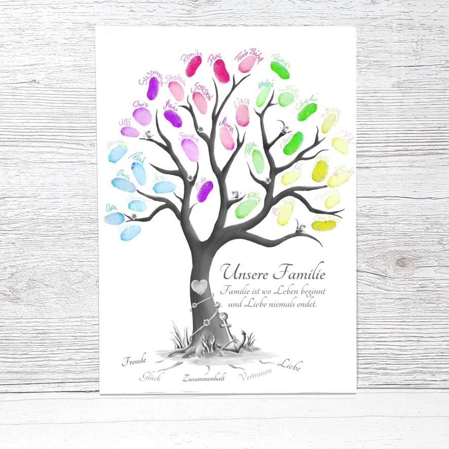 Stammbaum Familienbaum - Fingerabdruckbaum