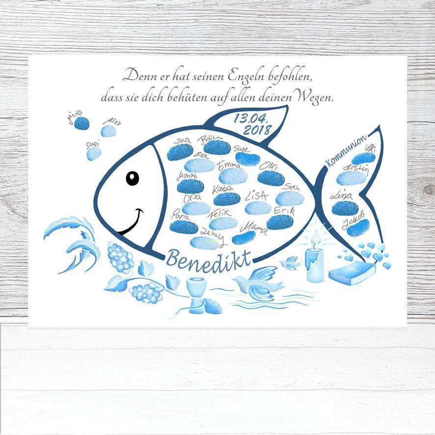 Fingerabdruck Fisch Kommunion Geschenk Fingerabdruckbaum