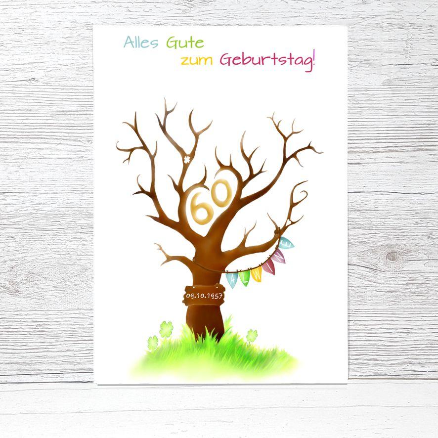 Fingerabdruckbaum Geburtstag Namenswimpel Fingerabdruckbaum